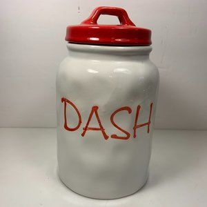 Other - Kitchen Canister Dash Ceramic Red White